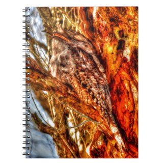 TAWNY FROGMOUTH WITH ART EFFECTS RURAL AUSTRALIA NOTEBOOK