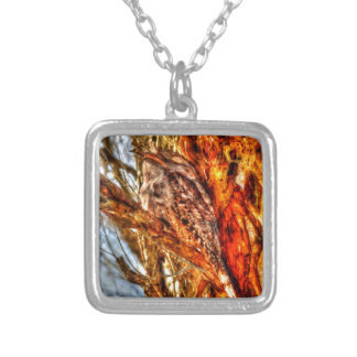 TAWNY FROGMOUTH WITH ART EFFECTS RURAL AUSTRALIA SQUARE PENDANT NECKLACE