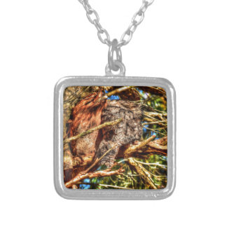 TAWNY FROGMOUTHS IN TREE QUEENSLAND AUSTRALIA SQUARE PENDANT NECKLACE