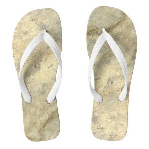 Tawny Gold Streaked marble stone finish Flip Flops