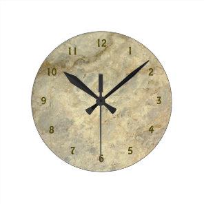 Tawny Gold Streaked marble stone finish Round Clock