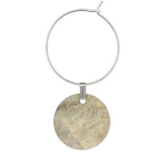 Tawny Gold Streaked marble stone finish Wine Glass Charm