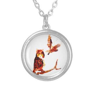 Tawny Owl Art Round Pendant Necklace