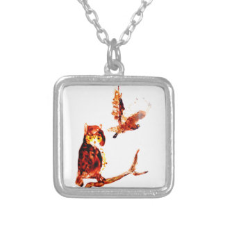 Tawny Owl Art Square Pendant Necklace