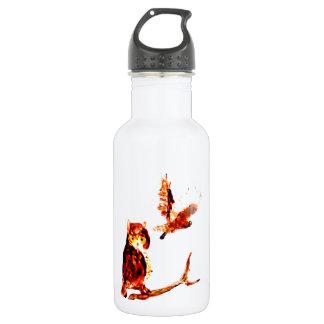 Tawny Owl Art Water Bottle