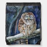Tawny owl drawstring backpack