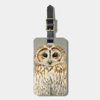 Tawny Owl fine art bird named luggage tag