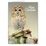 Tawny Owl in the snow fine art Christmas card