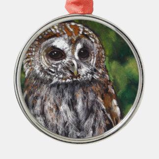 Tawny Owl: Original Oil Pastel Art Round Metal Christmas Ornament