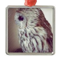Tawny Owl Painting Metal Ornament