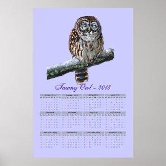 Tawny owl violet watercolor calendar 2015 poster