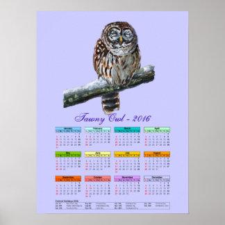 Tawny owl violet watercolor calendar 2016 poster