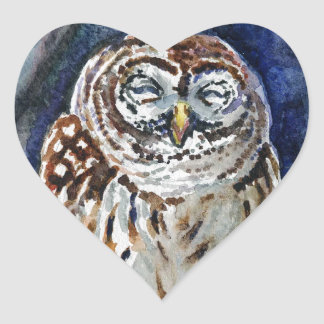 Tawny Owl watercolor painting Heart Sticker