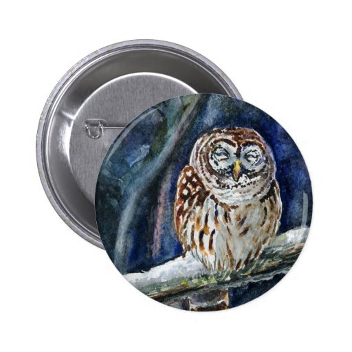 Tawny Owl watercolor painting Pinback Button