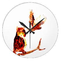 Tawny Owls Art Large Clock