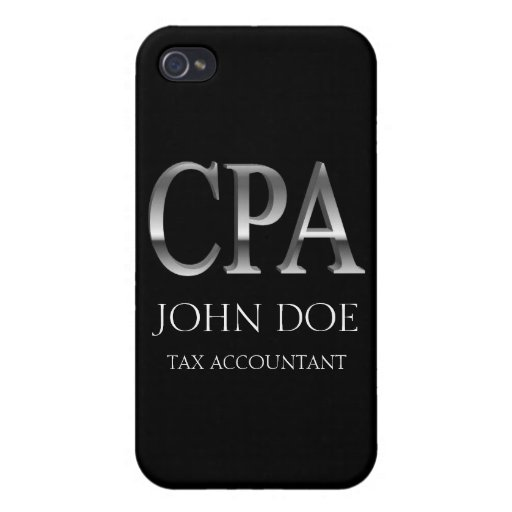 Tax Accountant 3D Mirrored CPA Black  Cases For iPhone 4