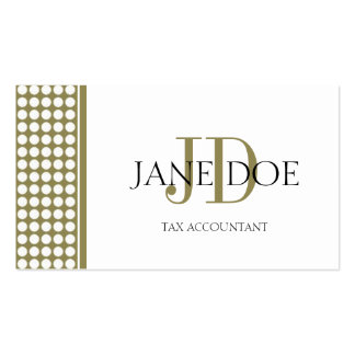 Tax Accountant/CPA Monogram Dot Gold/White Paper Business Card Template