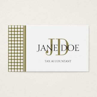 Tax Accountant/CPA Monogram Dot Gold/White Paper Business Card