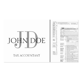 Tax Accountant Monogram 1040 White Business Cards