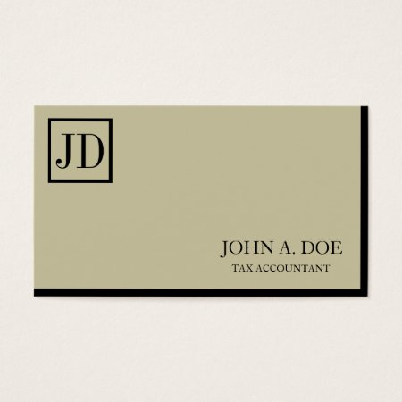 Tax Accountant Square Monogram Tan Black Business Cards