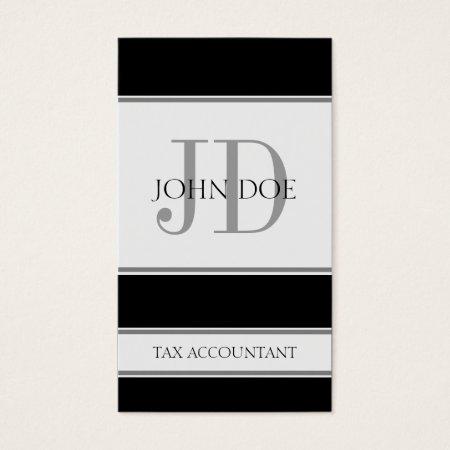 Black Gray and White Stripes Monogram Custom Business Card Template