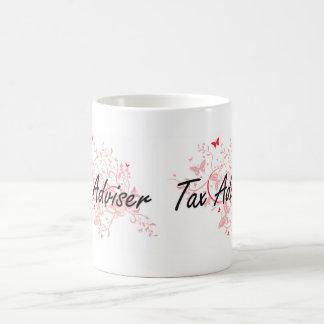 Tax Adviser Artistic Job Design with Butterflies Coffee Mug