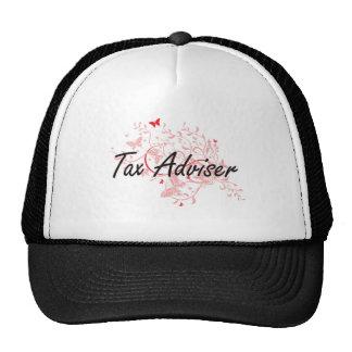 Tax Adviser Artistic Job Design with Butterflies Trucker Hat