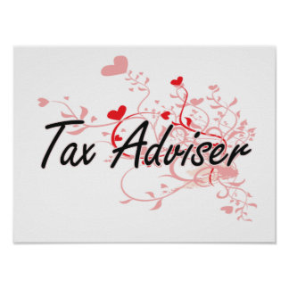 Tax Adviser Artistic Job Design with Hearts Poster