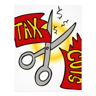 Tax Cuts Ribbon Scissors Letterhead