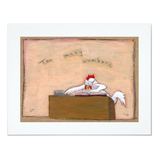 Tax Day Accountant chicken numbers fun silly art Card