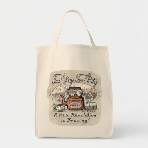 Tax Day Tea Party Gear Grocery Tote Bag