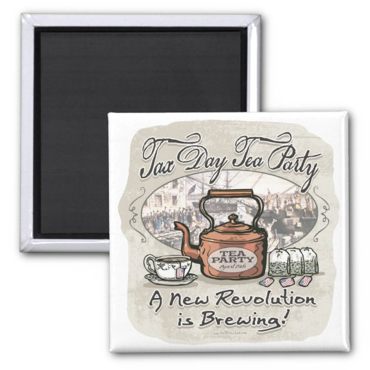 Tax Day Tea Party Gear Magnet