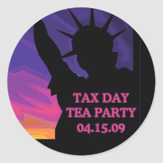 Tax Day Tea Party - Statue of Liberty Round Sticker
