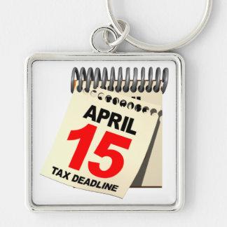 Tax Deadline Silver-Colored Square Keychain