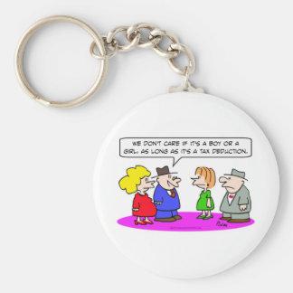 tax deduction pregnant boy or girl keychain