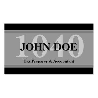 Tax Prep Stripes 1040 Graphite Business Card Template