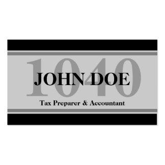 Tax Prep Stripes 1040 Grey Business Card Template