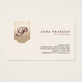 Tax Prepaper Finance Services Gold Tab Monogram Business Card