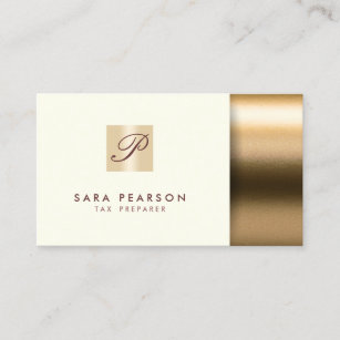 Tax preparer business cards zazzle tax preparer elegant gold monogram business card colourmoves