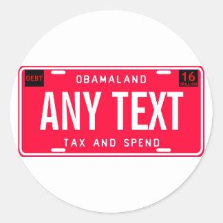 tax & spend classic round sticker