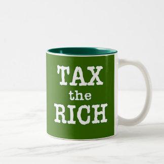 Tax the Rich Tshirts, Buttons Two-Tone Coffee Mug