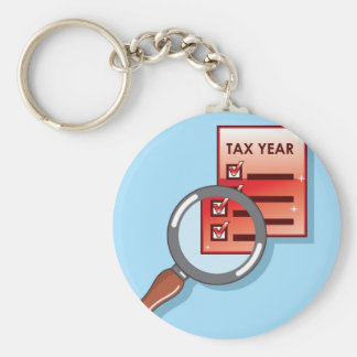 Tax Year Magnifying Glass Vector Zoom Basic Round Button Keychain
