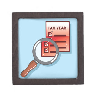 Tax Year Magnifying Glass Vector Zoom Jewelry Box