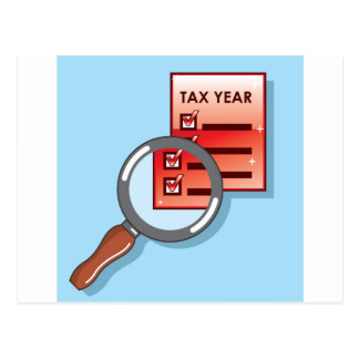 Tax Year Magnifying Glass Vector Zoom Postcard