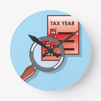 Tax Year Magnifying Glass Vector Zoom Round Clock