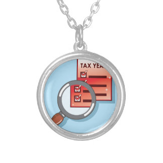 Tax Year Magnifying Glass Vector Zoom Round Pendant Necklace