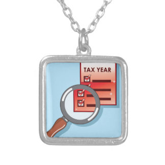 Tax Year Magnifying Glass Vector Zoom Square Pendant Necklace