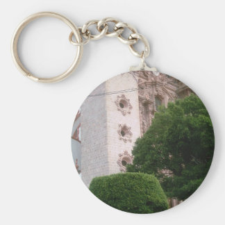 Taxco Cathedral front base from the zocalo Basic Round Button Keychain