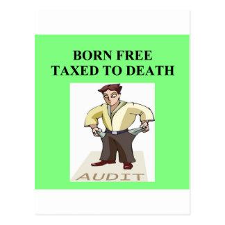 taxed to death postcard