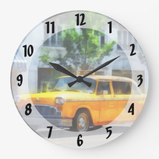 Taxi a cuadros del vintage reloj redondo grande